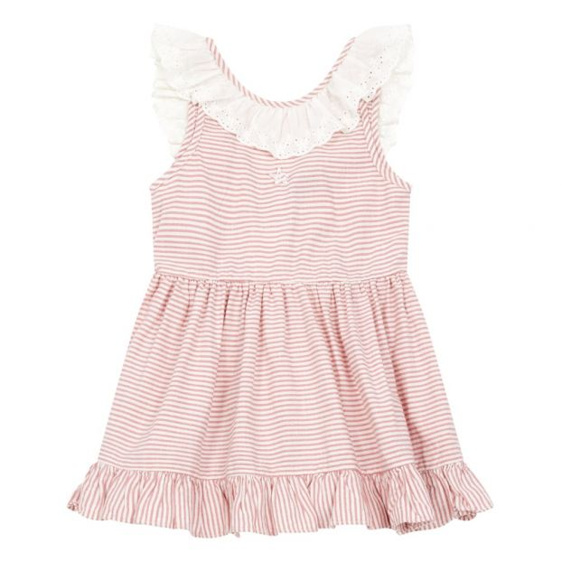 10a6330a7 Cotton and linen dress Pink Tocoto Vintage Fashion Children