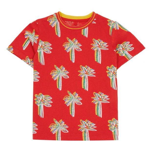 T Shirt aus Bio Baumwolle mit Palmen Print   WEIß   Tommy