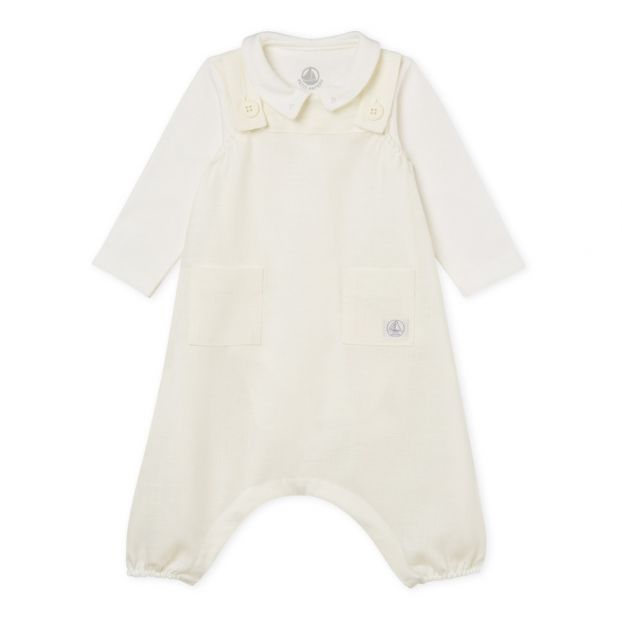 29da1981cf8 Balard Bodysuit + Jumpsuit Set White Petit Bateau Fashion Baby