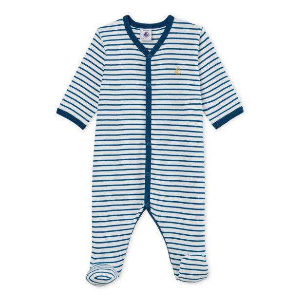 c20cf65adbf43 Dors bien bébé garçon en côte Bleu marine Petit Bateau Mode