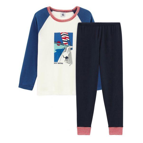 3d05c1e08 Pijama Breton Azul Petit Bateau Moda Infantil