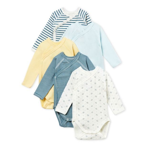 Baby Boys  Newborn Bodysuit - Set of 5 White Petit Bateau Fashion 62cb1a3ad5b