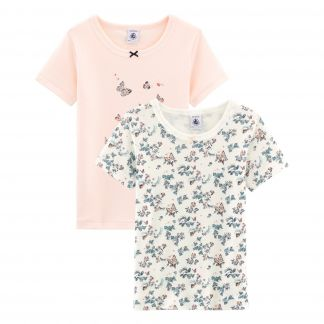 b81c0188d2b Petit Bateau Girls  Short-sleeved T-shirt in Cotton - Set of 2