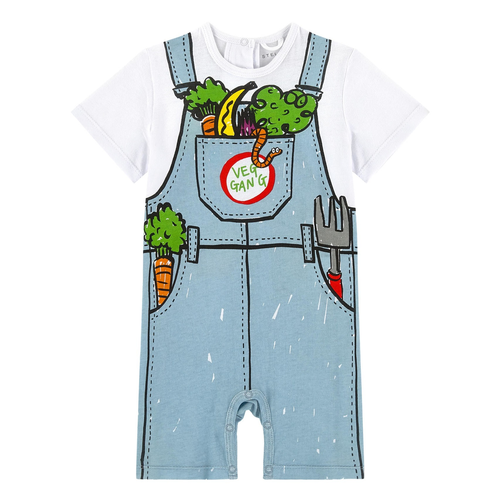 03b3a046246de Combishort Coton Bio Veg Gang Bleu Stella McCartney Kids Mode