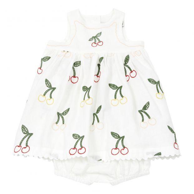 2bdaba352b13a Linen and cotton dress + bloomers White Stella McCartney Kids
