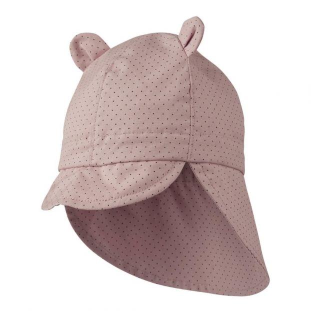 ecb87f6f184 Chapeau protection soleil à pois en coton bio Rose Liewood Mode
