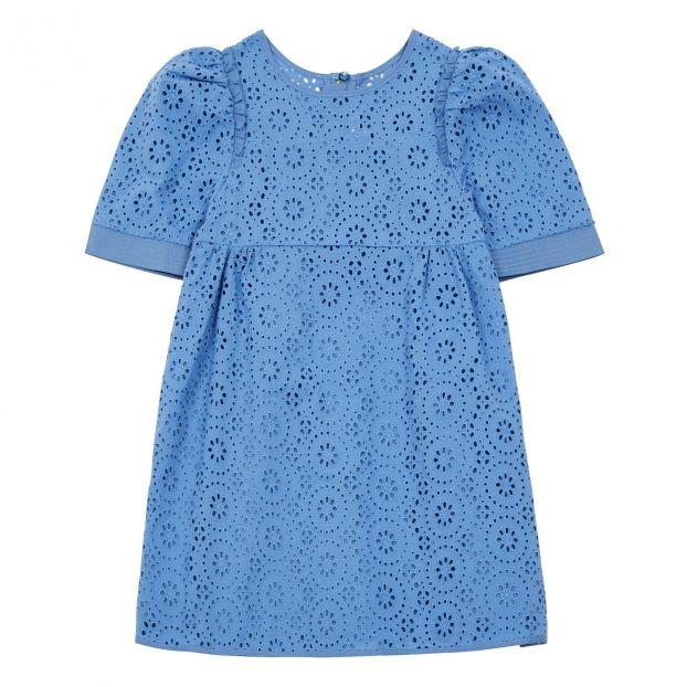Vestido Bordado Inglés Azul