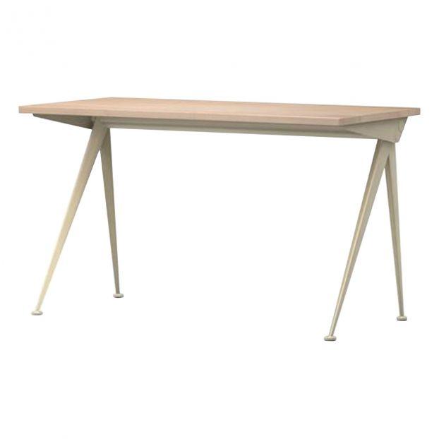 Remarquable Compas Direction Desk - Ecru base - Jean Prouvé, 1953 Oak Vitra MQ-43