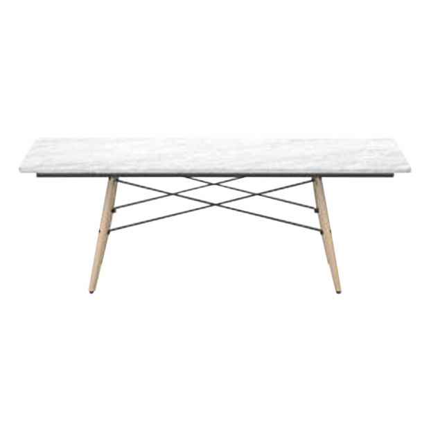 Eames Coffee Table Square Ash Honey Tone Base Charles Ray Eames 1953 Marble White