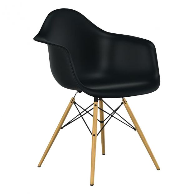 chaise daw, charles & ray eames, 1950 noir vitra design adulte