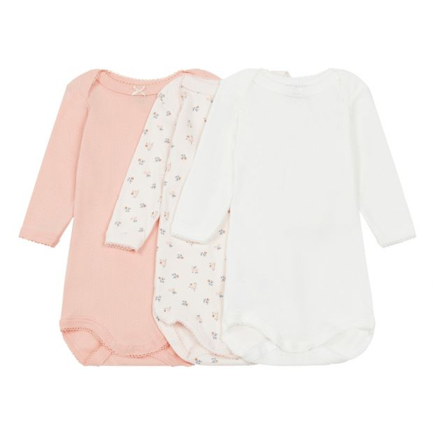 d955b1268ce2 Baby Girls  Long-Sleeved Bodysuit - Set of 3 Pink Petit Bateau