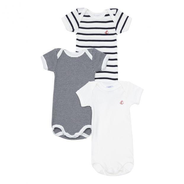 9623df9bfc Striped Baby Grows - Set of 3 White Petit Bateau Fashion Baby