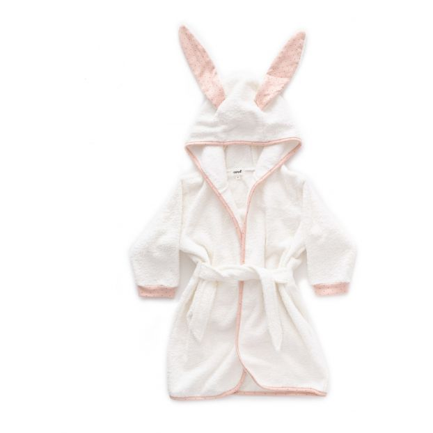 Hooded bath robe Pale pink Oeuf NYC Design Baby  e347f9b0e
