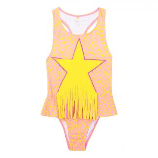 57bd275219 Star anti-UV 1 piece swimsuit Pink
