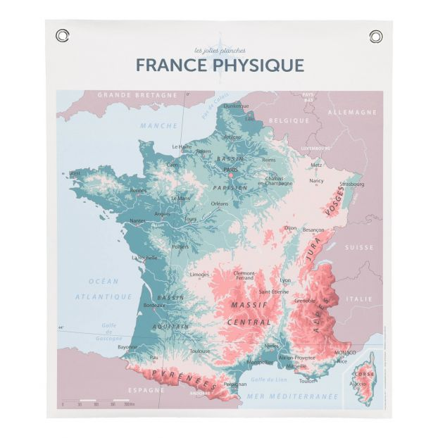 Map Of France For Children.Geography Of France 70x80cm
