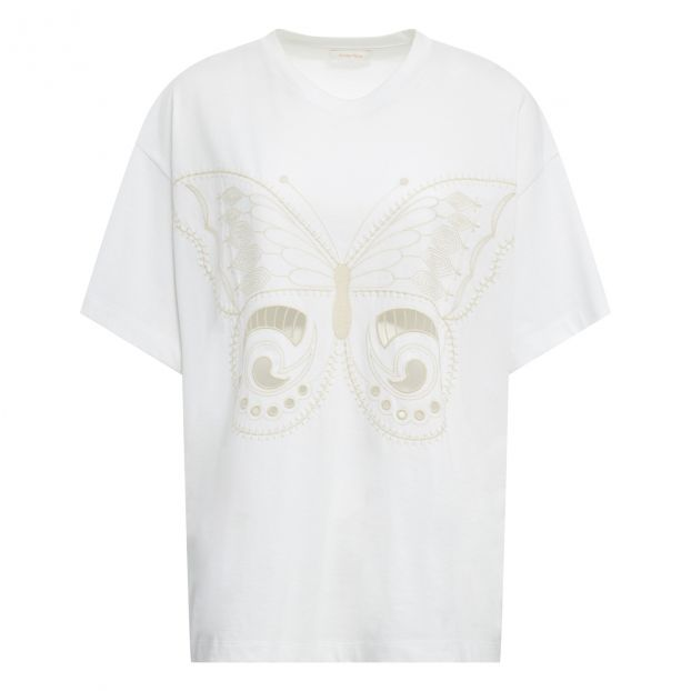 dbdf166bca Butterfly Embroidery T-Shirt Cream