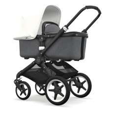 product-Bugaboo Fox complete pushchair, black chassis and grey mélange seat