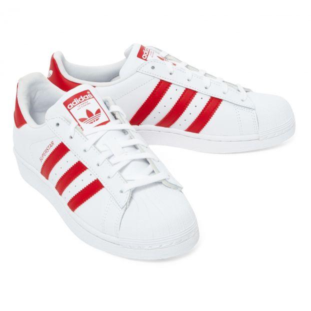 Rojo Cordones Zapatillas Superstar Adidas Calzado Joven N8nvm0wO