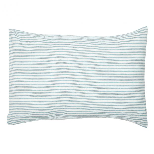 Three Colour Striped Linen Pillow Case  by Smallable