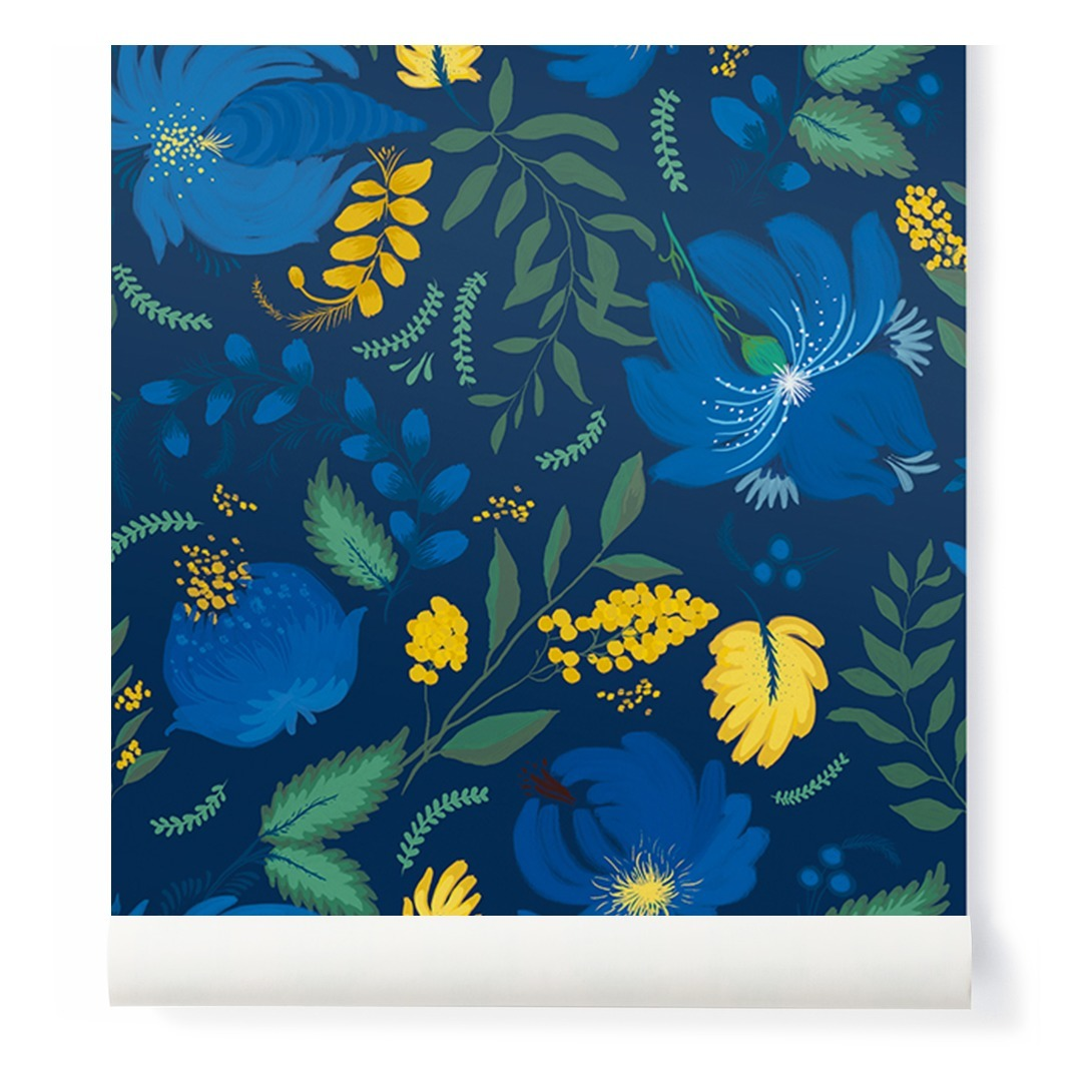 Floral Wallpaper Blue Papermint Design Adult