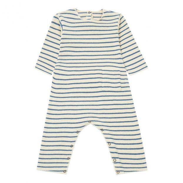 fa45d64216b Striped knit jumpsuit Blue Babe   Tess Fashion Baby
