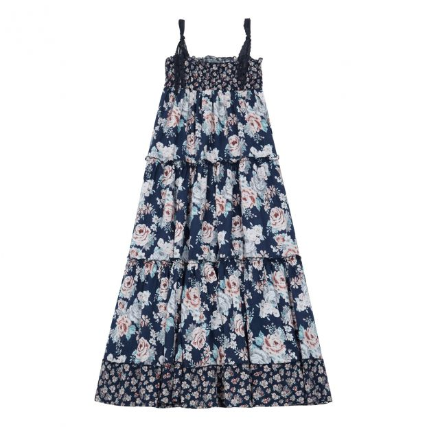 22ae3cf535 Floral dress Navy blue Tocoto Vintage Fashion Children