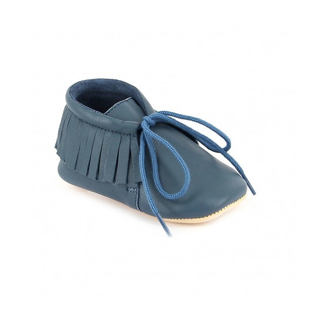 9d5009cda9e4d3 Meximoo Leather Slippers Navy blue Easy Peasy Shoes Baby