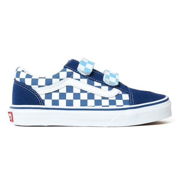 ed76133774 Old Skool Checkerboard Trainers Navy blue Vans Shoes Teen