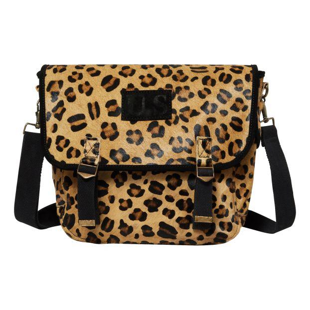 tienda oficial claro y distintivo comprar online Bolso Bandolera Grande de Cuero Leopardo Camel