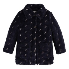 product-Chloé Faux Fur Horse Embroidery Coat