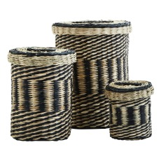 product-Madam Stoltz Seagrass baskets with lids - Set of 3